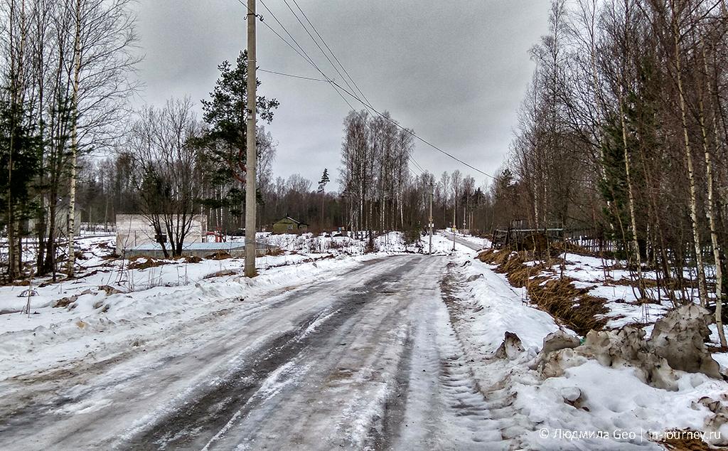 дорога через поселок к шару в лесу