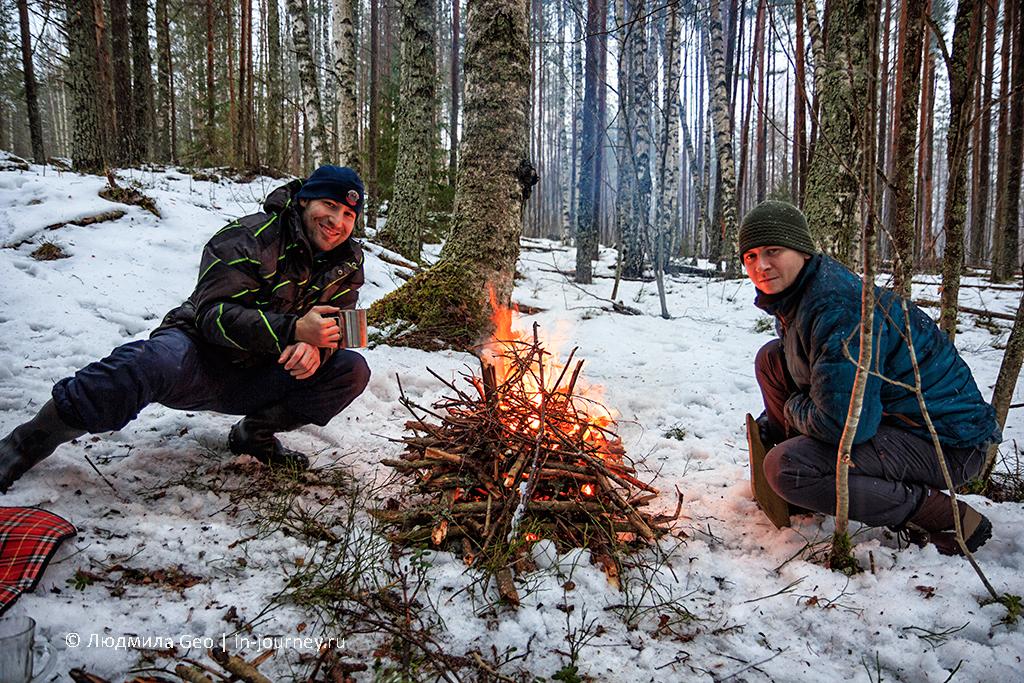 компания у костра зимой в лесу