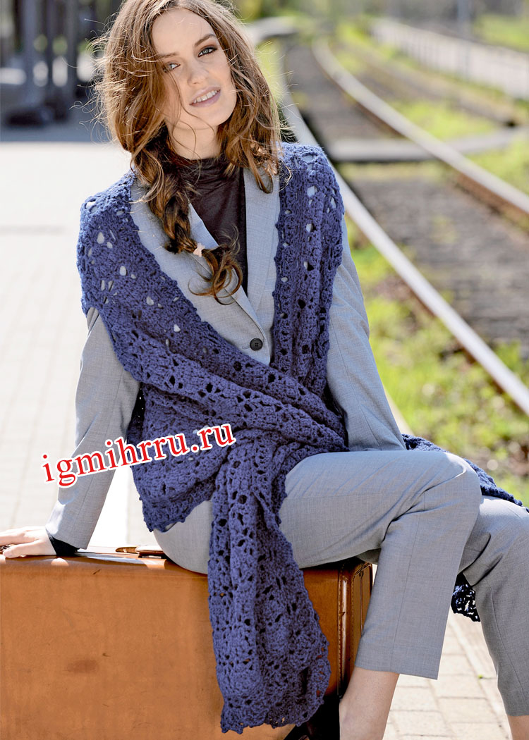 Синий жилет-шарф с длинными полочками. Вязание крючком