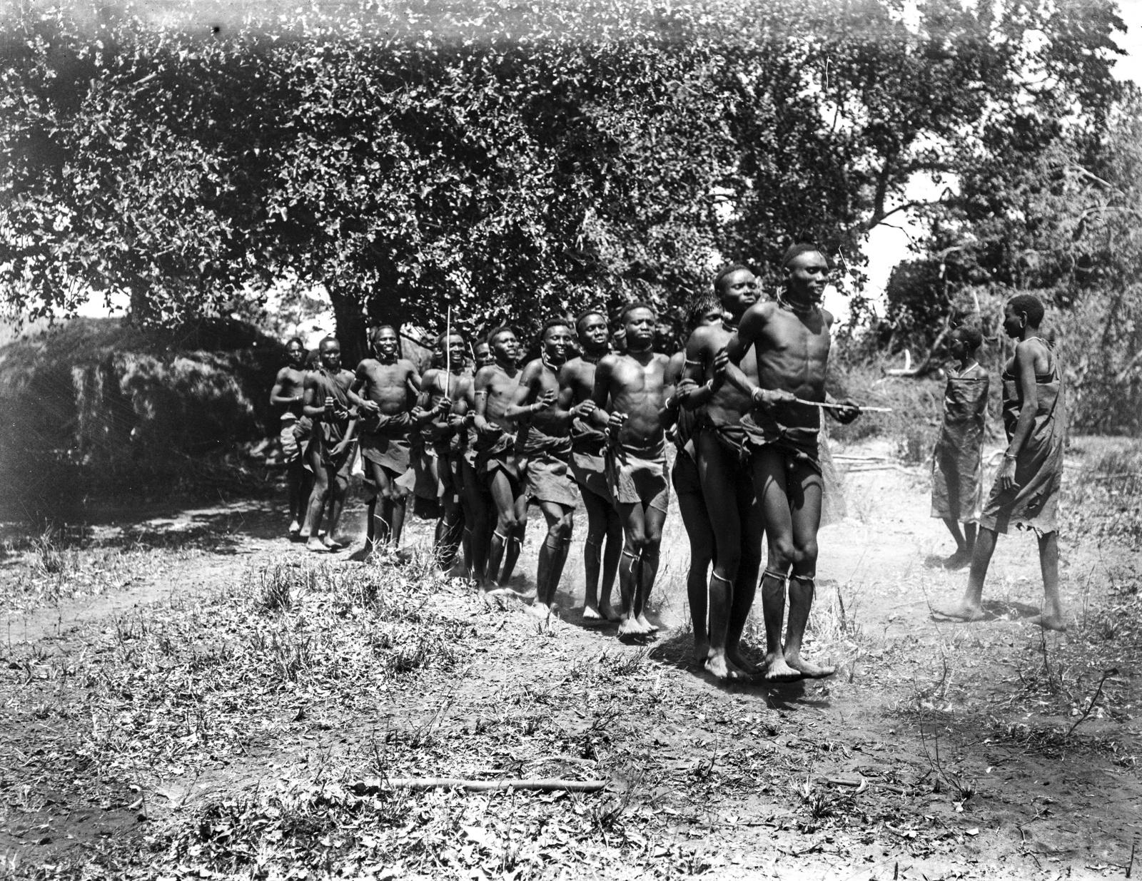 06. Группа людей басонжо во время танца у лагеря Ндалалани. Танцоры прыгают на два фута высотой, вытянув тела