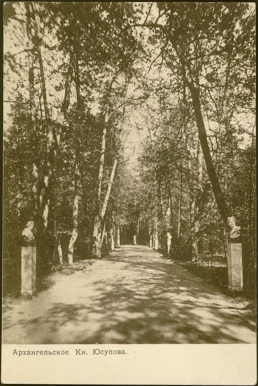 Пушкинская аллея. В глубине аллеи памятник А.С. Пушкину 1910