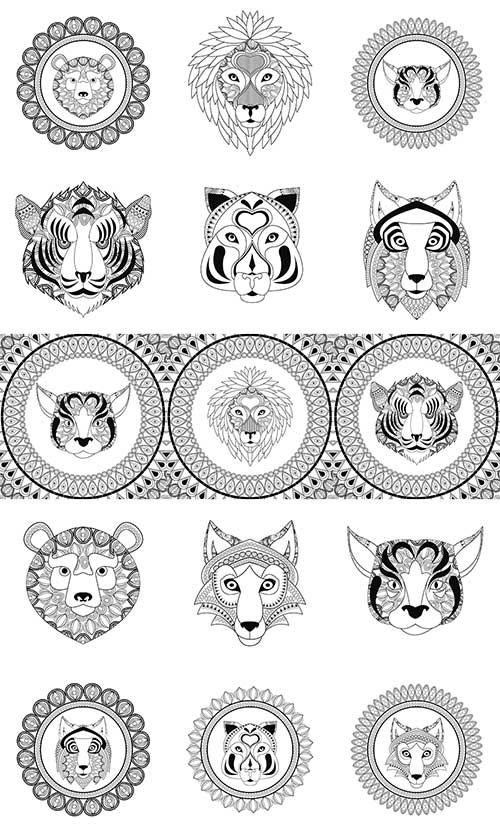 Тигр, лев, волк, рысь, медведь в векторе / Tiger, lion, wolf, lynx, bear in vector