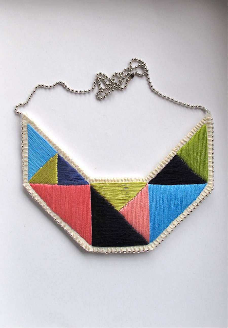 Geometric and Colorful Embroidered Jewellery (6 pics)