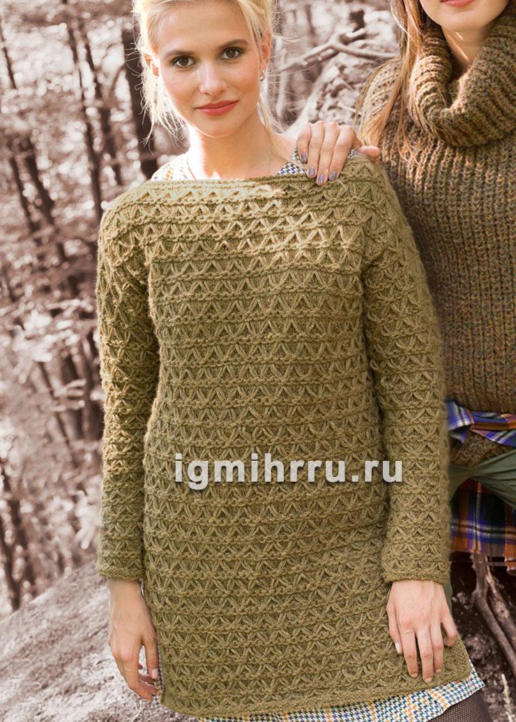 Удлиненный шерстяной пуловер со сплошным узором из снятых петель. Вязание спицами
