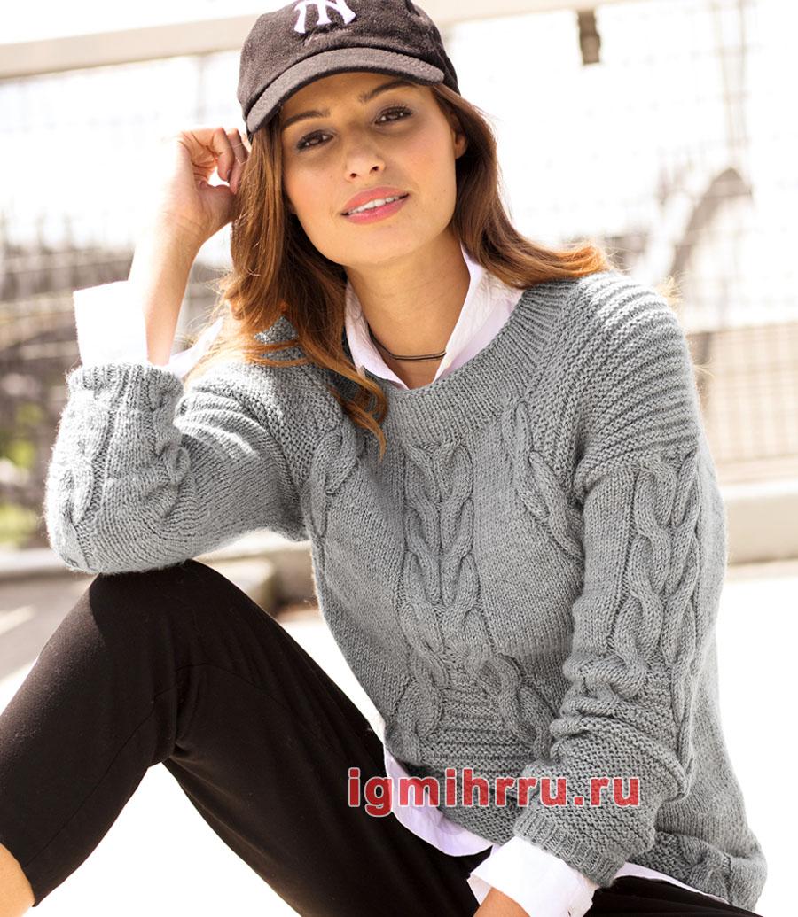 Серый шерстяной пуловер с диагональными косами. Вязание спицами