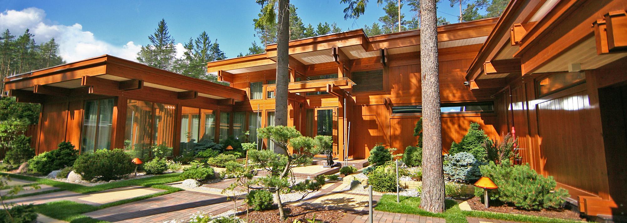 Элитный дом из клееного бруса в стиле фахверк