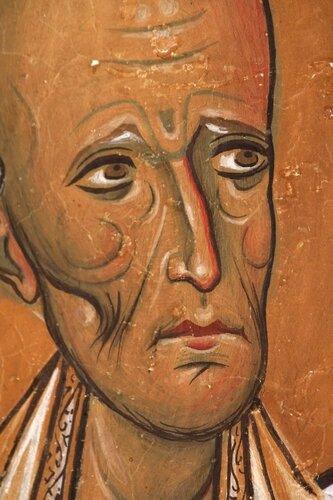 Святой Праведный Лазарь Четверодневный, Епископ Китийский. Фреска церкви Панагии Аракиотиссы в селе Лагудера, Кипр. 1192 год.