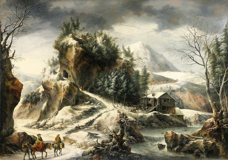 Зимний пейзаж с пещерой (Winter Landscape With A Cavern)_100 х 132_х.,м._Частное собрание.jpg