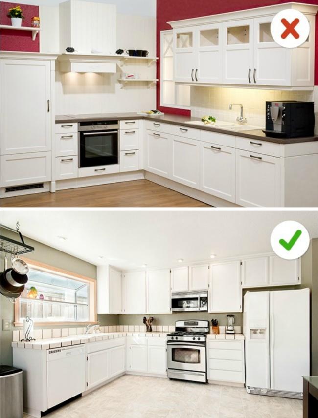 © depositphotos  © depositphotos  Если размеры кухни позволяют установить высокие навесн