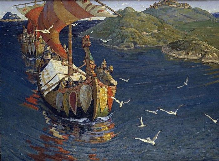Заморские гости. Н.К. Рерих, 1901 год.   Такие находки, как корабли викингов, историки делают н