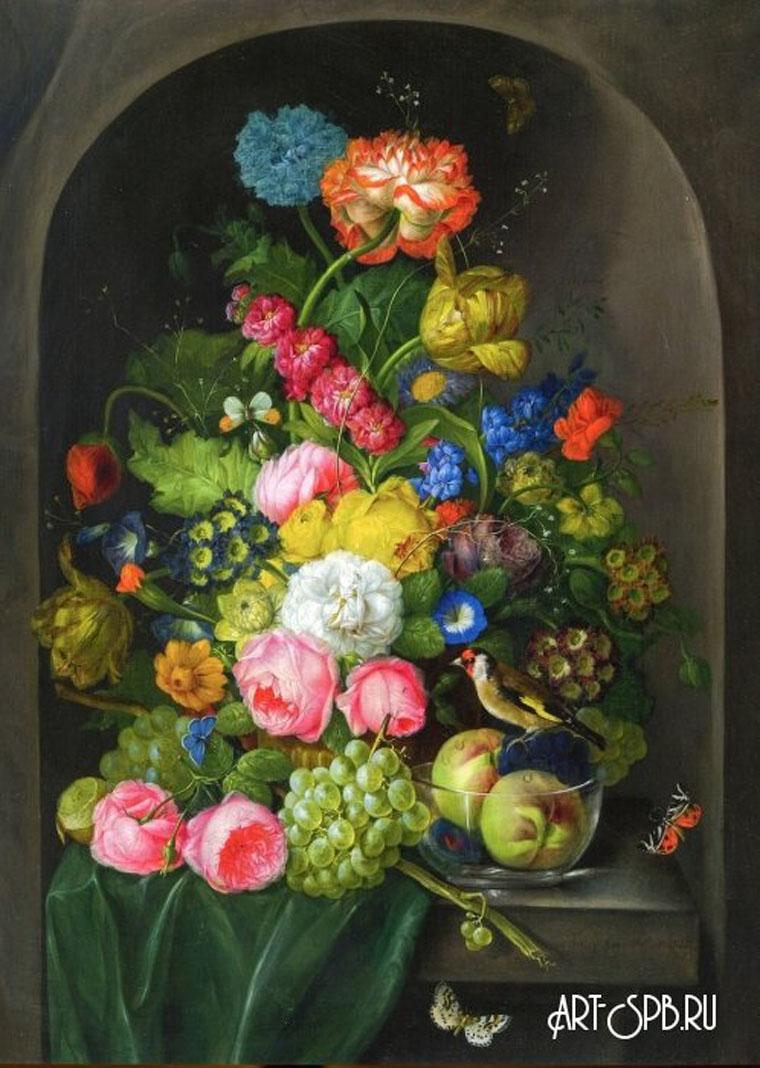 18856.jpgЦветочный натюрморт в нише с фруктами и щеглом. Франц Ксавер Петтер.jpg
