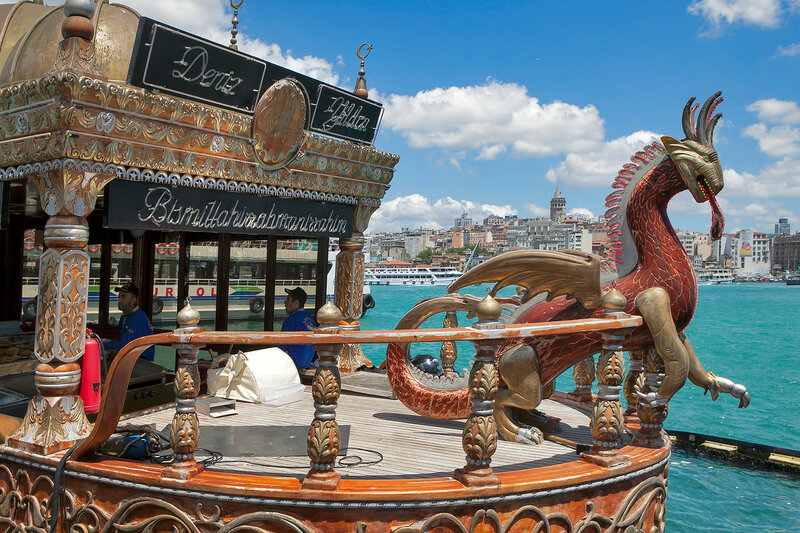 Traditional boats cooking and selling food, Eminonu, Galeta bridge, Istanbul, Turkey, Europe