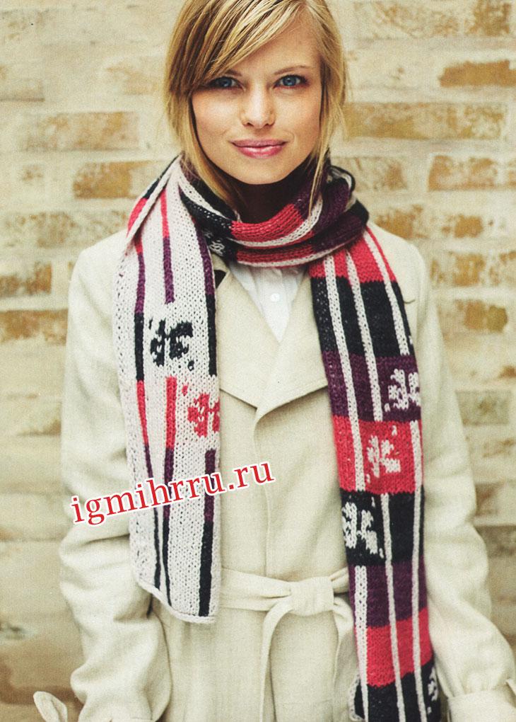 Двусторонний шарф с краями, оформленными полым шнуром. Вязание спицами
