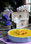 Немецкий творожный двухслойный пирог с манго
