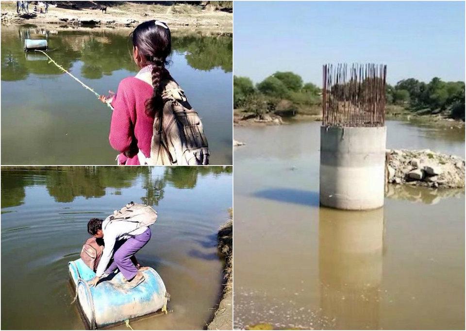 Индийские школьники вынуждены пересекать реку на пластиковых бочках