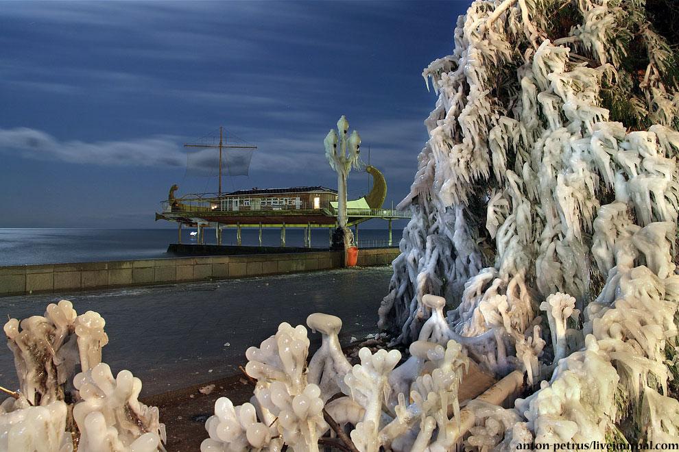 зима Крым лед необычное шторм