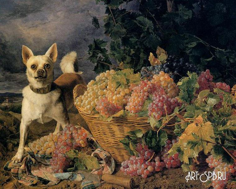 4539.jpgПейзаж с собакой и корзиной винограда. Фердинанд Георг Вальдмюллер.jpg