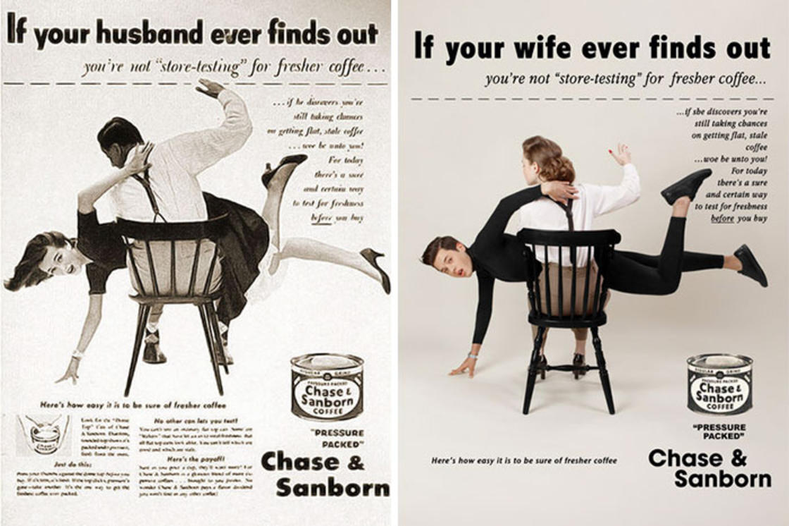 Recreer les publicites vintage sexistes en inversant les roles