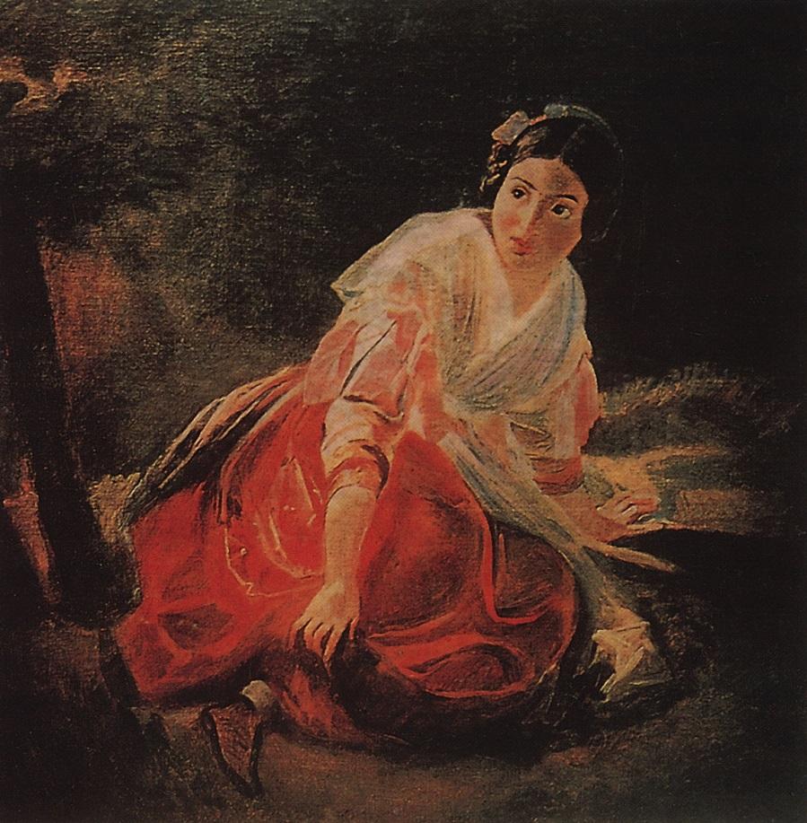 Девушка в лесу. 1851-1852