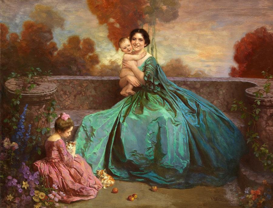 Porträt einer Mutter mit zwei Kindern , Circa 1900-1920..jpg
