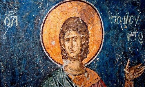 Святой Мученик Полиевкт. Фреска монастыря Высокие Дечаны, Косово, Сербия. Около 1350 года.