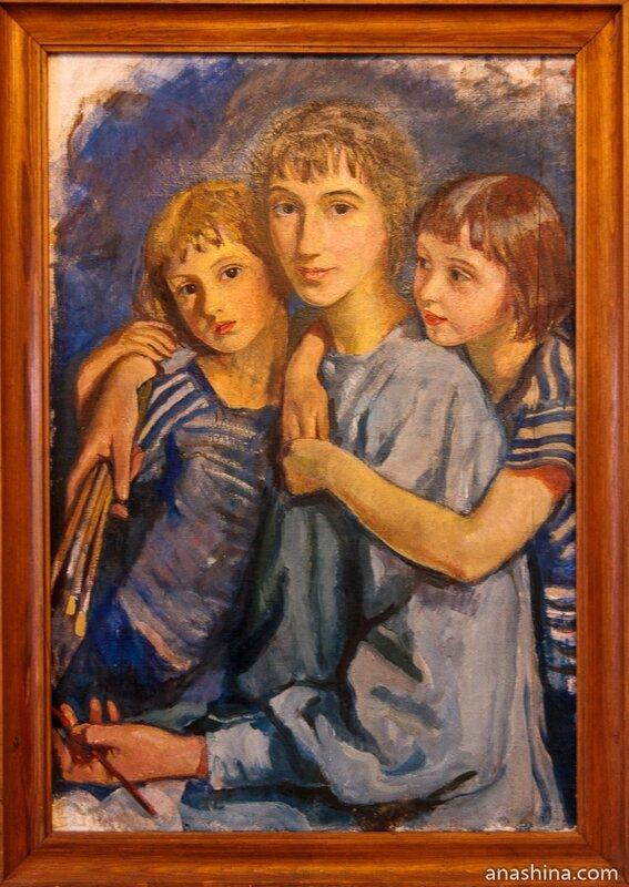 Автопортрет с дочерьми. Зинаида Серебрякова, 1921