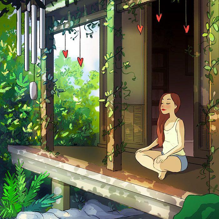 Ilustracoes mostram que morar sozinho pode ser maravilhoso (21 pics)