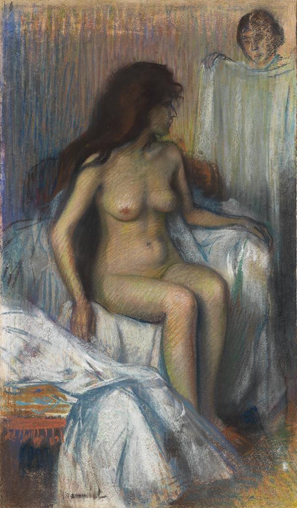 Femme nue assise , circa 1900