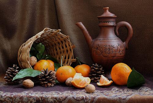 натюрморт с мандаринами