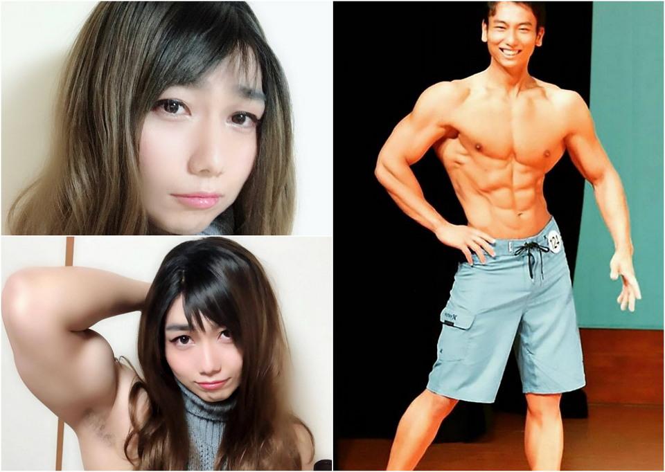 Японский культурист разыграл друзей и подписчиков в Twitter, представ в образе школьницы