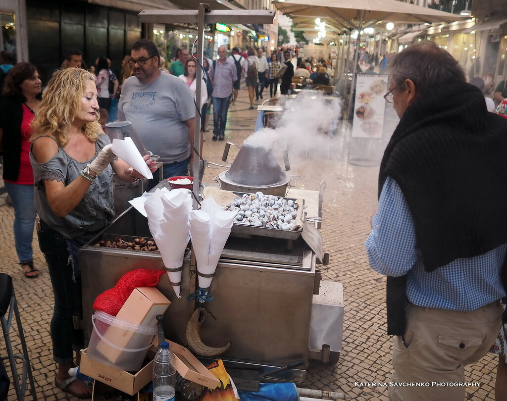 Stand with roasted chesnut in Lisbon