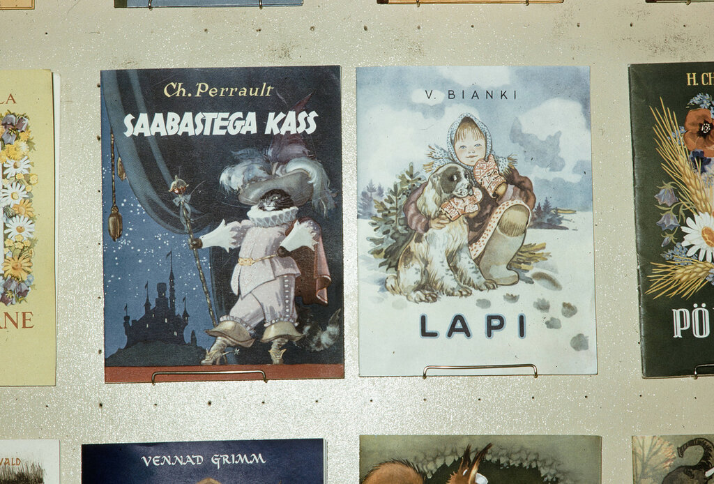 Russia, display of children's books. Estonian books for children, Esthonia