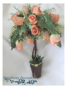 топиарий, топиарий из роз, топиарий с нестандартной кроной, ручная работа, интерьерная композиция, подарки, рукоделки василисы
