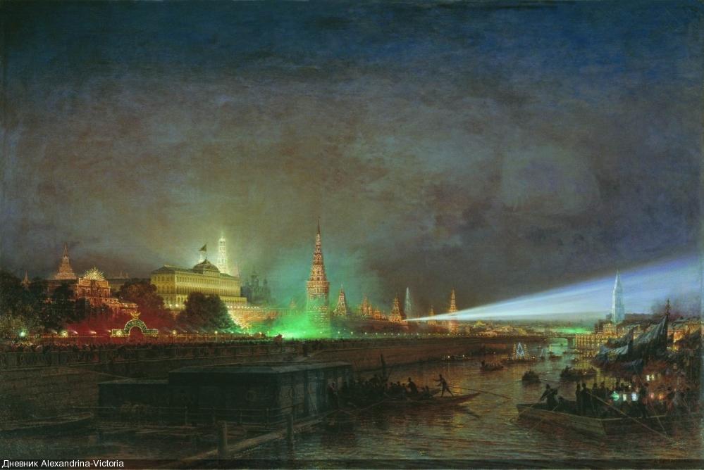 Иллюминация Кремля во время коронации Александра III. 1883 г.