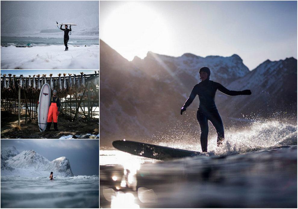 Суровый серфинг в Норвегии