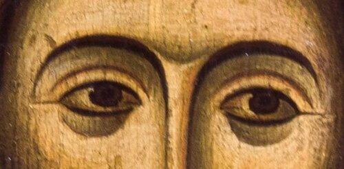 Лик Спасителя. Фрагмент складня. Грузия, XII в. Музей истории и этнографии Сванетии, Местия.