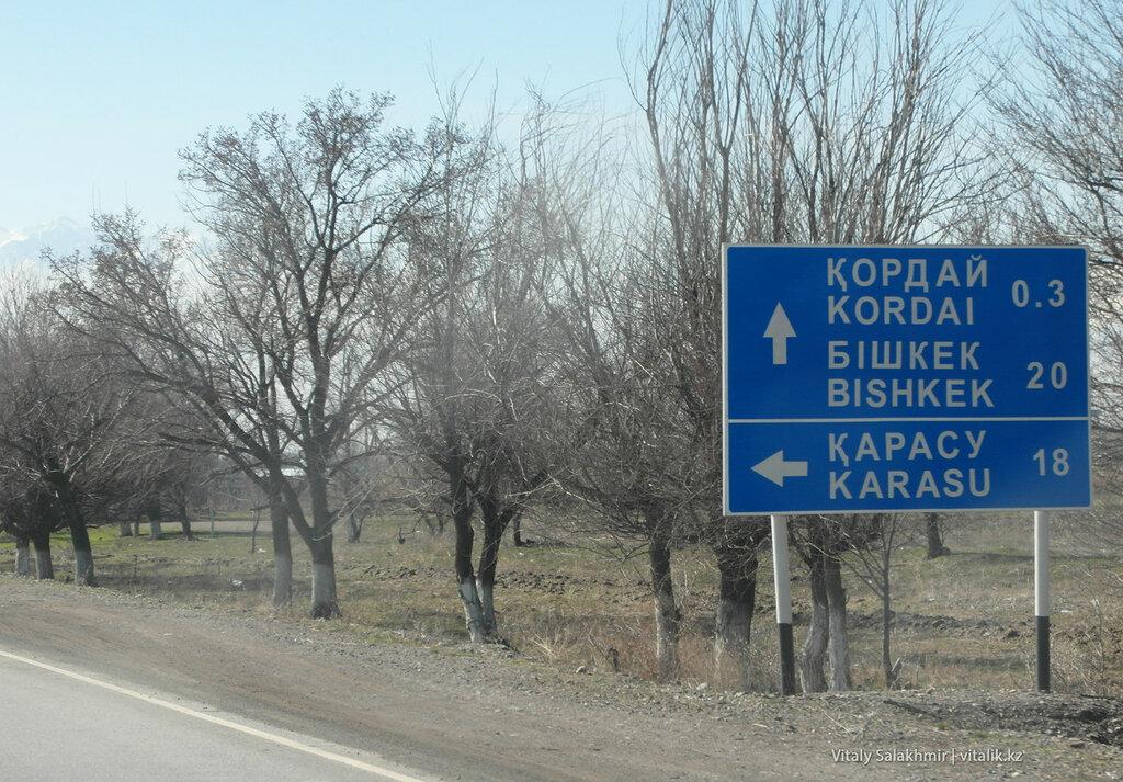 Указатель Бишкека в Кордае