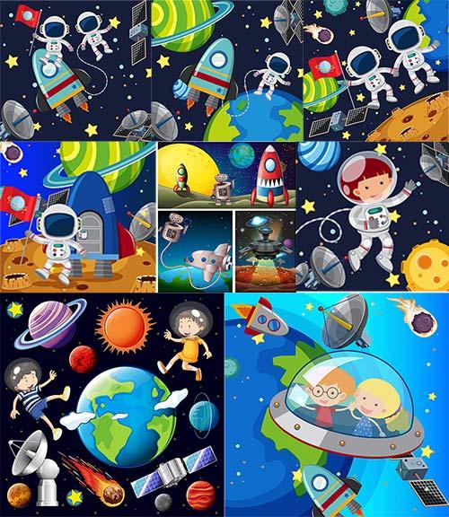 Путешествие в космос - Вектор / Journey into space - Vector