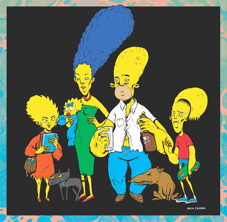 Illustration geek universe the simpsons
