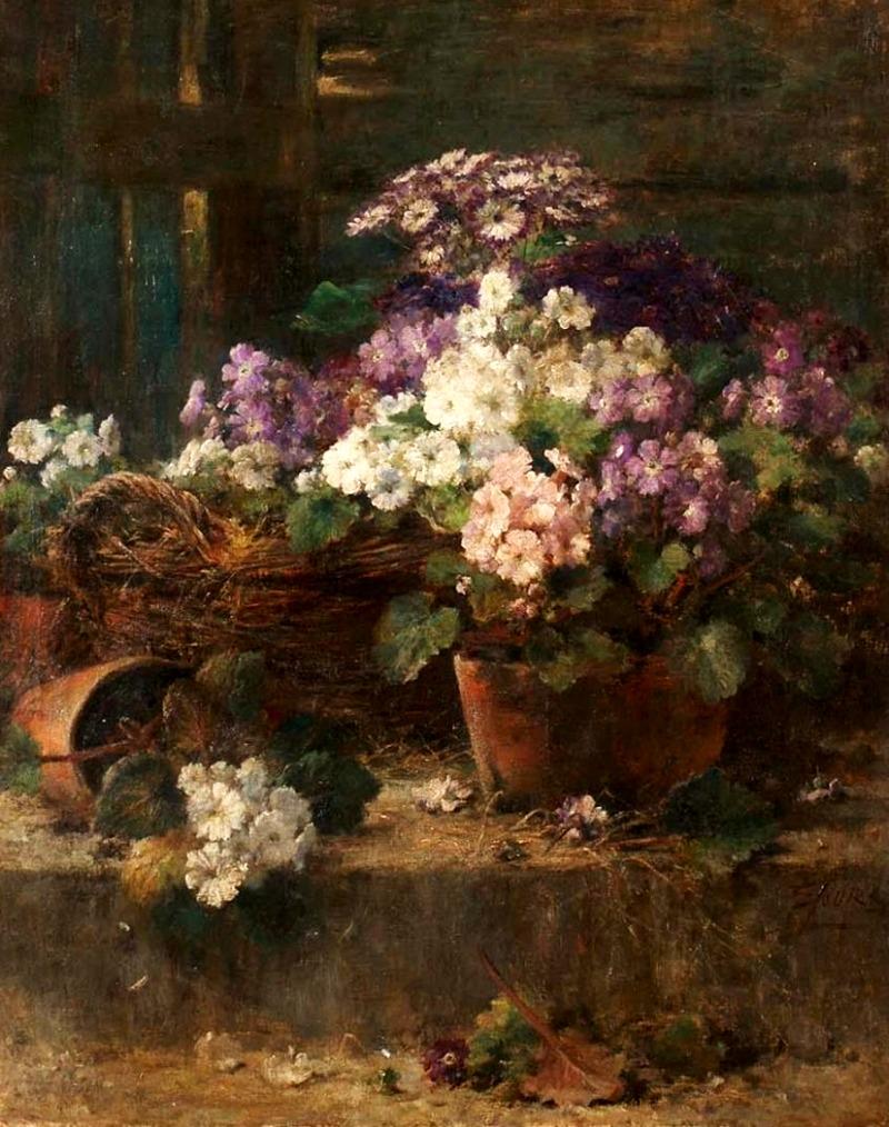 Pots de fleurs sur le muret