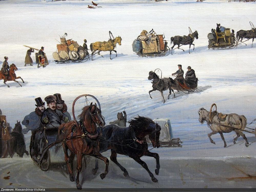 «Катание на Неве» Боголюбова А.П. в Третьяковской галерее.