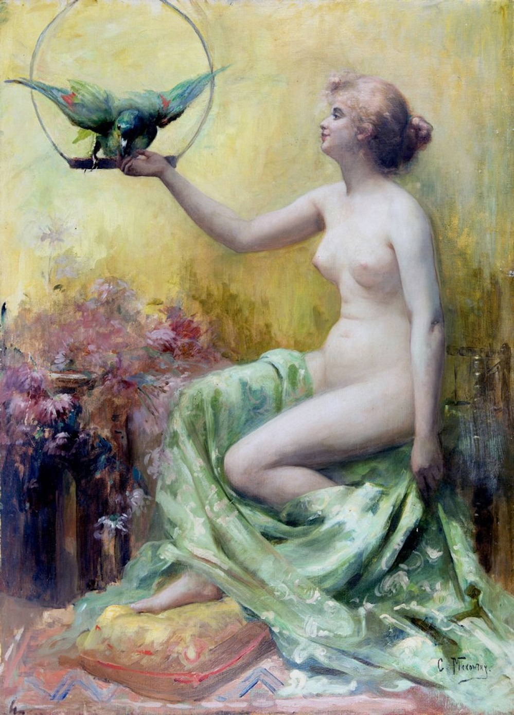 A Tender Touch (Woman with Parrot).