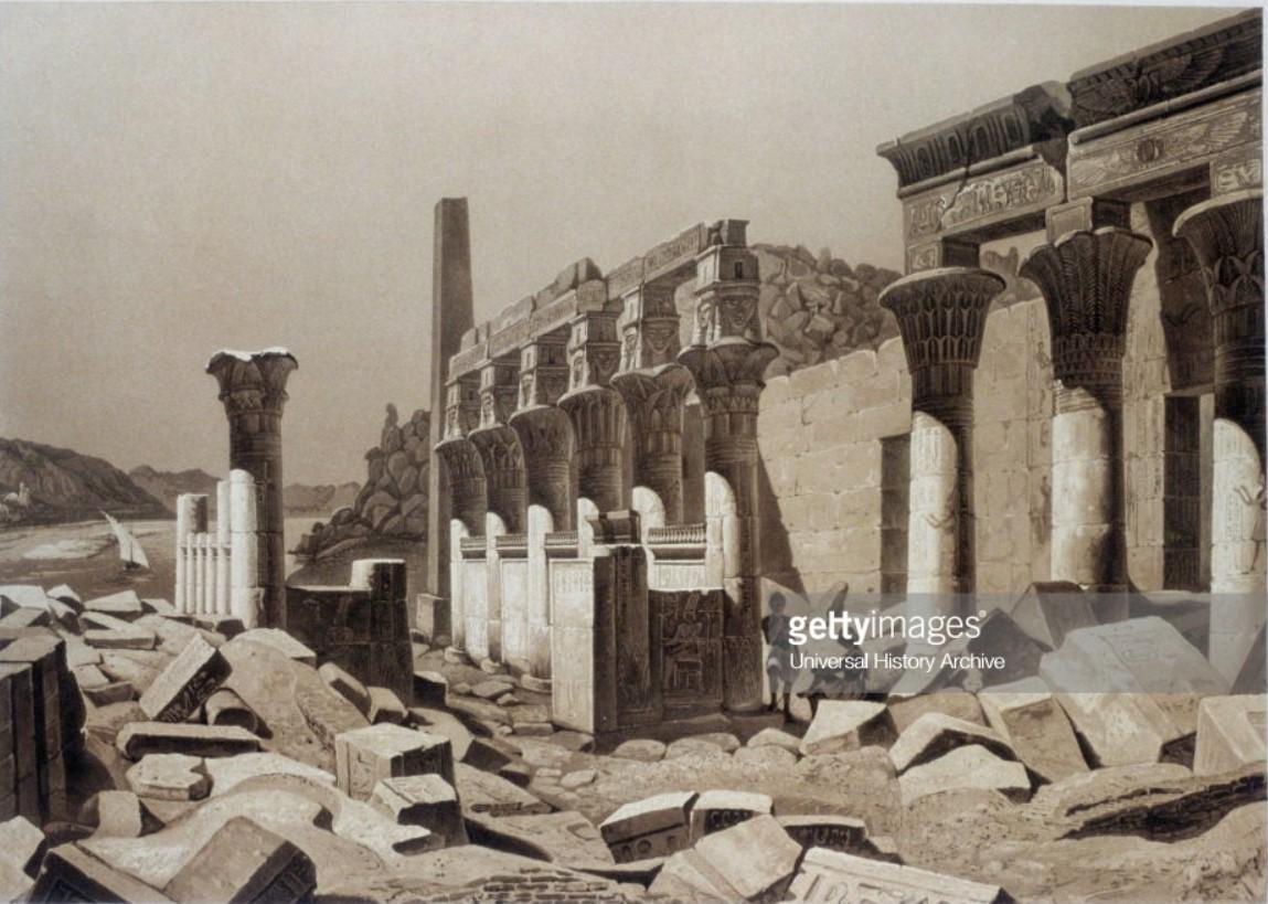 1841. Филе. Колонны храма Хатхор