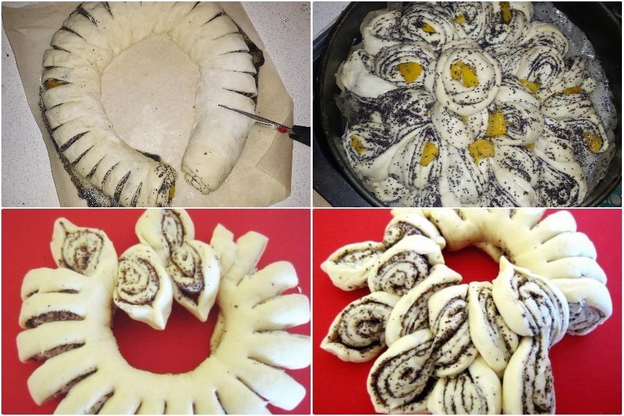 Дрожжевой фигурный пирог с маком и персиками