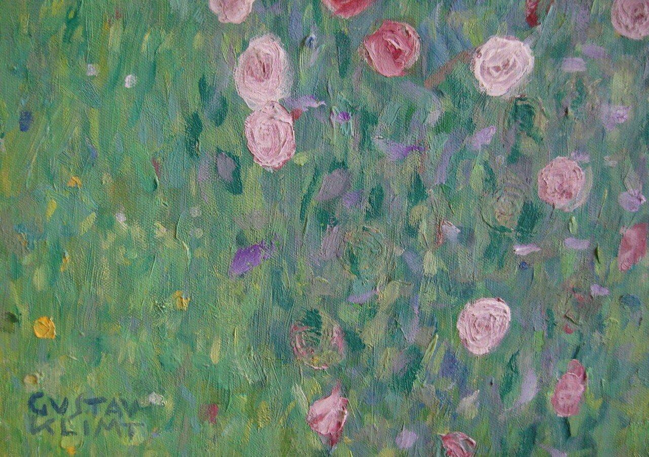 Gustav Klimt, rosiers sous les arbre, 1905, detail