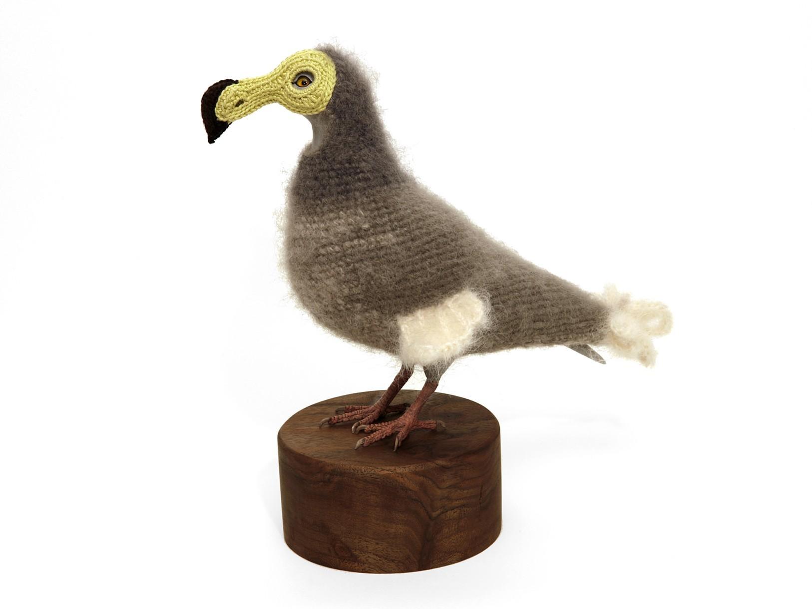 Urban Pigeons: Dodo II, 2014. Crocheted yarn, handmade pigeon mannequin, walnut stand.