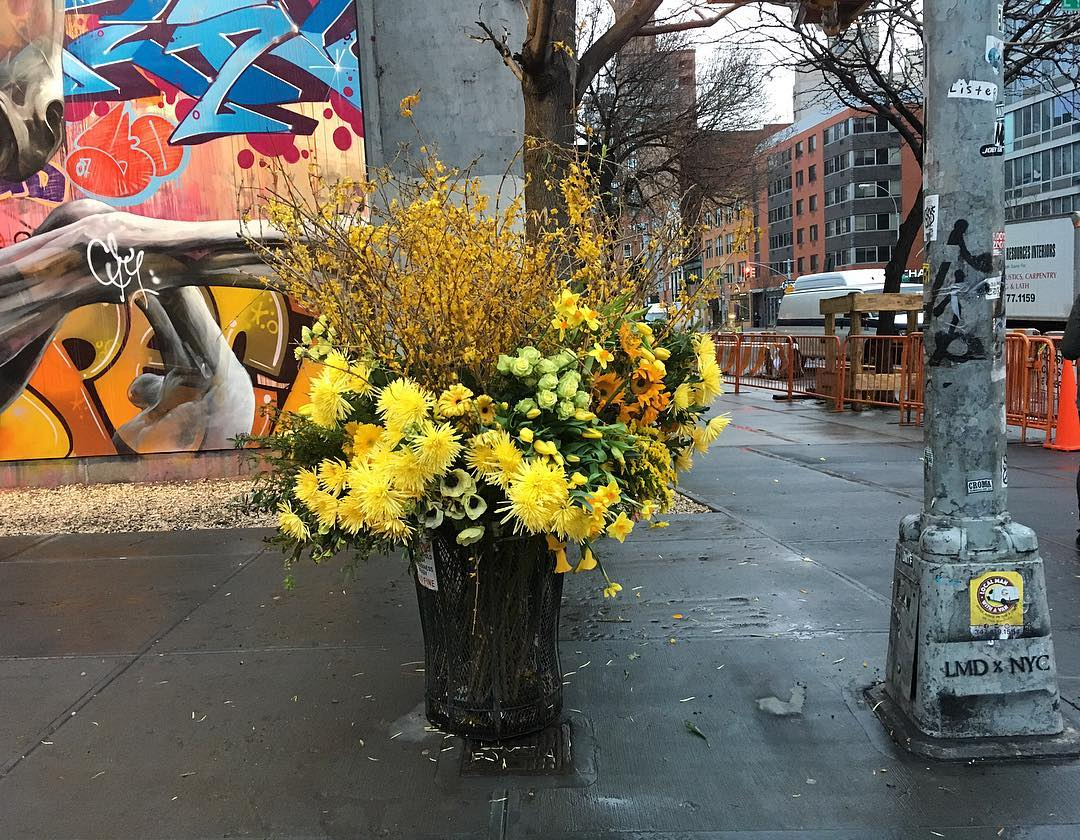 Guerilla Flower Installations on the Streets of NYC by Lewis Miller Design