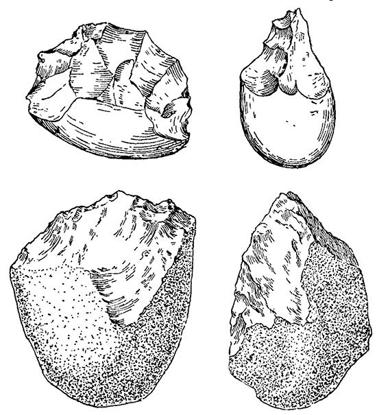 Древнейшие ручные рубила. Вверху — из Юго-Восточной Азии, внизу — из Африки (Олдовэйское ущелье).
