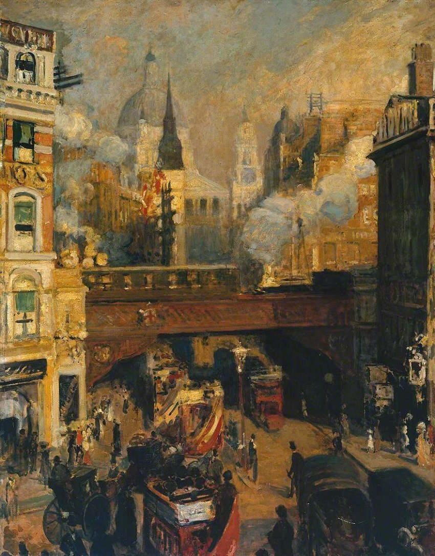 Ludgate Circus: Entrance to the City (November, Midday) (Ludgate Circus: Entree de la City (Novembre, midi))