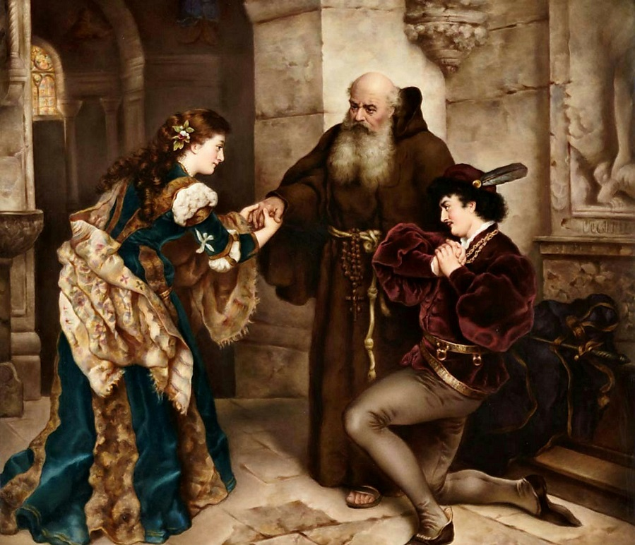 KPM Painted Porcelain Plaque of Romeo and Juliet Before Friar Lawrence.